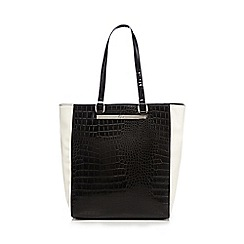 The Collection - Black colour block mock snakeskin shopper bag