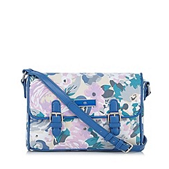 The Collection - Blue printed canvas satchel