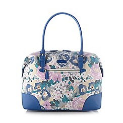 The Collection - Blue floral canvas weekender bag