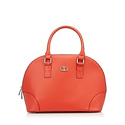 The Collection - Orange grained logo plate large dome bag