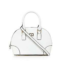The Collection - White grained logo plate small dome bag