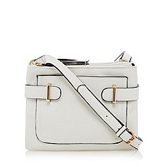 The Collection - White double compartment cross body bag