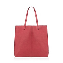 The Collection - Dark pink unlined leather shopper bag