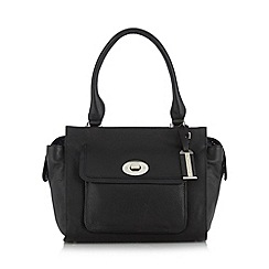 The Collection - Black leather twist lock pocket grab bag