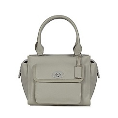 The Collection - Grey leather twist lock pocket grab bag