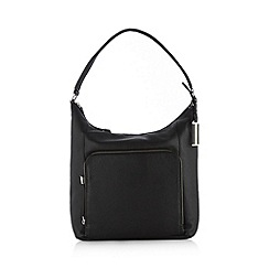 The Collection - Black leather zip fastening grab bag