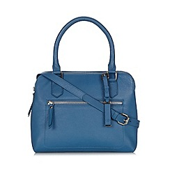 The Collection - Blue leather three compartment grab bag