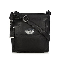The Collection - Black leather twist lock cross body bag