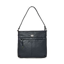 The Collection - Navy leather concealed zip shoulder bag