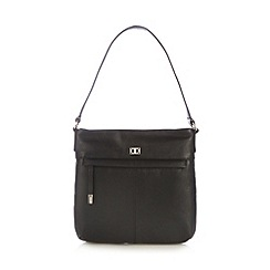 The Collection - Black leather zip pocket shoulder bag