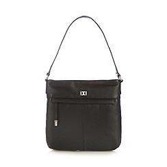 The Collection - Black leather zip pocket shoulder bag