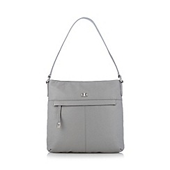 The Collection - Grey leather zip pocket shoulder bag
