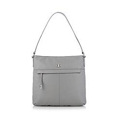 The Collection - Grey leather zip pocket shoulder bag