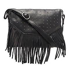 The Collection - Black leather floral applique grab bag