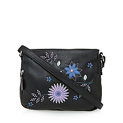 The Collection - Black leather flower applique cross body bag