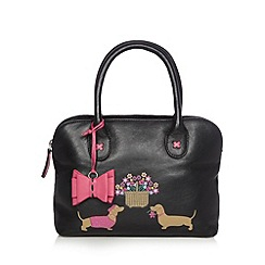 The Collection - Black leather dog bow grab bag