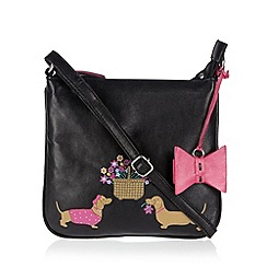 The Collection - Black leather applique dogs cross body bag