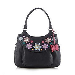 The Collection - Navy leather applique flower tote bag