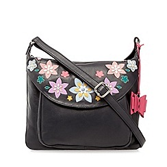 The Collection - Navy leather applique flower cross body bag
