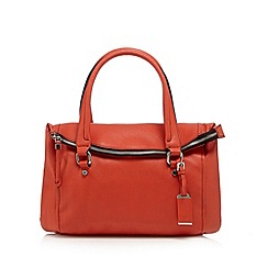 The Collection - Dark orange leather zipped fold over shoulder bag