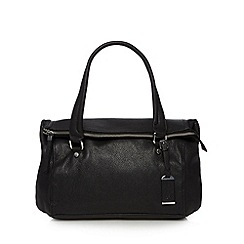 The Collection - Black leather zipped fold over shoulder bag