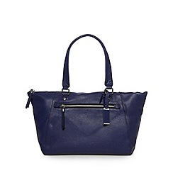 The Collection - Navy leather zip front shoulder bag