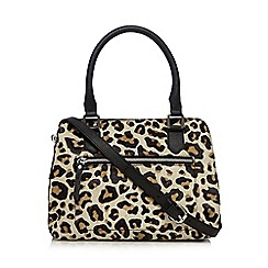 The Collection - Black leopard print leather zip detail grab bag