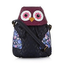 Mantaray - Navy small owl cross body bag