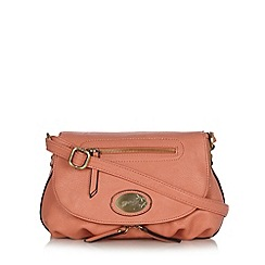 Mantaray - Peach logo brooch cross body bag