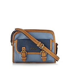 Mantaray - Blue double buckle cross body bag