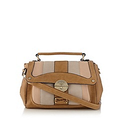 Mantaray - Tan block striped satchel bag