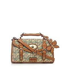 Mantaray - Green twist lock ditsy floral satchel bag