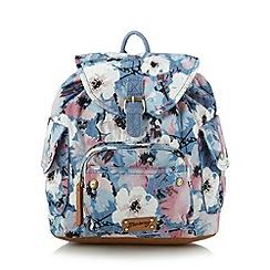 Mantaray - Blue chambray floral backpack