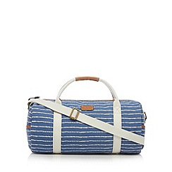 Mantaray - Blue striped canvas weekender bag
