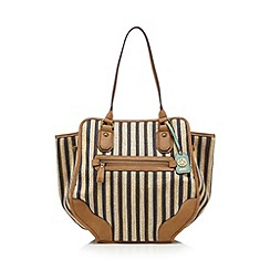 Mantaray - Navy stripe canvas tote bag