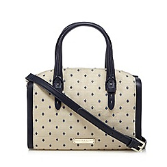 Bailey & Quinn - Natural polka dot straw grab bag