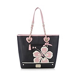 Floozie by Frost French - Black applique hibiscus shopper bag