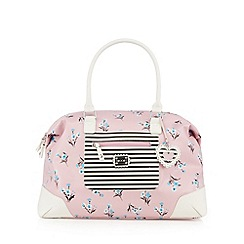 Floozie by Frost French - Pink floral and striped weekender bag