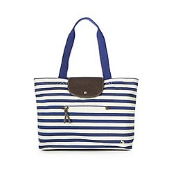 Iris & Edie - Navy canvas striped shopper bag