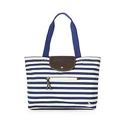 Iris & Edie - Navy canvas striped shopper bag