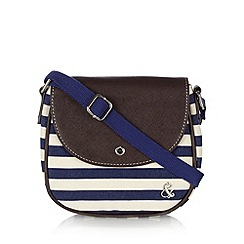 Iris & Edie - Navy striped canvas cross body bag