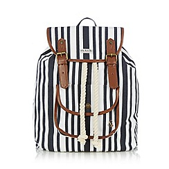 Iris & Edie - Navy striped rope backpack