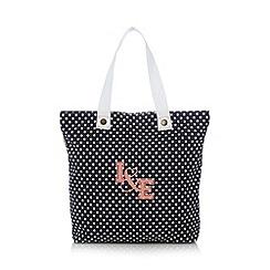 Iris & Edie - Navy spotted shopper bag