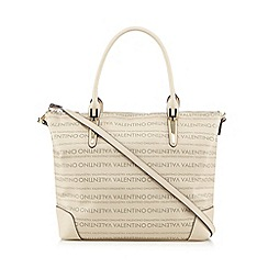 Valentino - Beige logo print shopper bag
