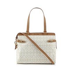 Valentino - Cream logo print shoulder bag