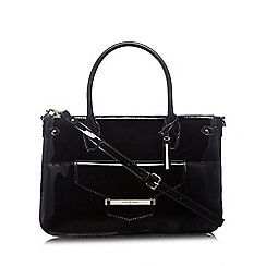 J by Jasper Conran - Designer black patent bar tab tote bag