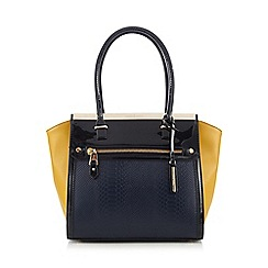 J by Jasper Conran - Designer navy colour block winged tote bag