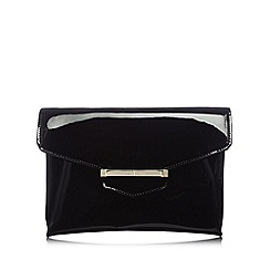 J by Jasper Conran - Designer black patent bar tab clutch bag