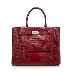 J by Jasper Conran - Dark red large leather mock croc grab bag