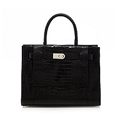 J by Jasper Conran - Black leather mock croc grab bag
